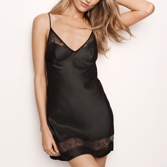 d8240c07c2 Victoria s Secret Very Sexy Satin Lace Slip Black